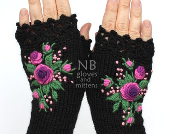 Knitted Fingerless Gloves, Black, Purple, Violet, Roses, Gloves & Mittens, Gift Ideas, For Her, Winter Accessories