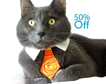 On Sale! Dog/Cat orange and yellow swirl necktie/bowtie on a shirt style collar