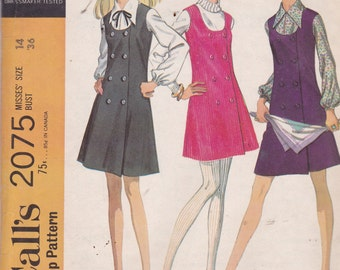 McCalls 2075 Vintage Pattern Womens Jumper In Mini Length And Blouse Size 14 UNCUT