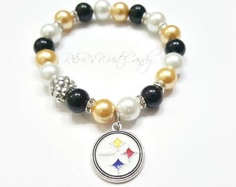 Pittsburgh Steelers Bracelet, Beaded Bracelet Football Bracelet, Charm Bracelet, Stretchy, Handmade Custom Beaded Jewelry