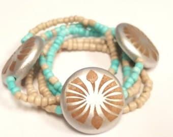 Beige and Turquoise Beaded Bracelet Set, Beach, Stretchy,Minimalist,Boho, Womens Jewelry, Handmade, Custom Beaded Jewelry