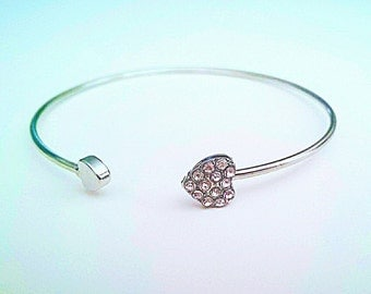 Rhinestone Hearts Bangle Bracelet with Double Hearts Valentine's Day Gifts in Silver