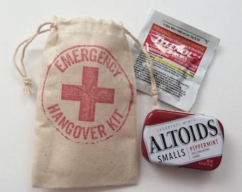 Emergency ~Hangover Kit Bags Muslin Favor Bags, Set of 10 (3x5 shown)