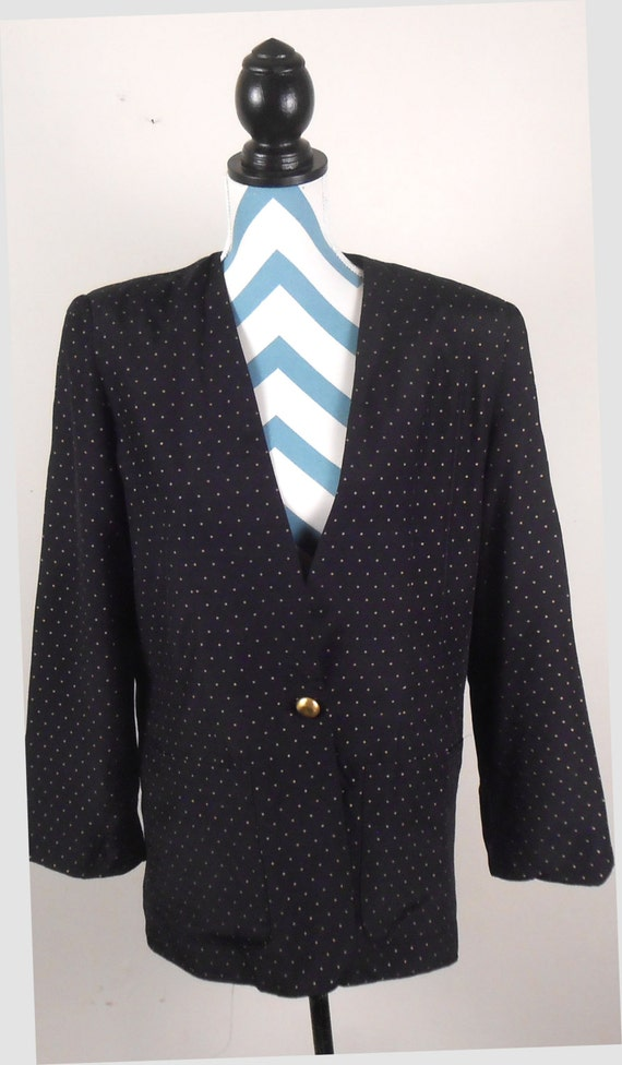 Chaus Black Polka Dots Blazer With Shoulder Pads 1980s Size S