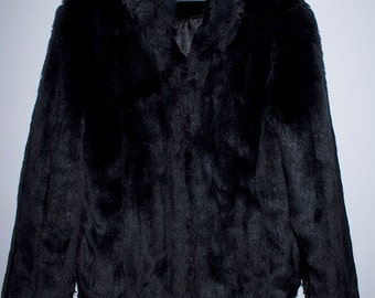 VINTAGE 90s Goth Glam Rock Heavy Metal style Black Fake Faux Fur Jacket Coat.