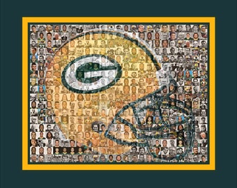 Green Bay Packers Mosaic Print Art Designed Using Over 100 of the Greatest Packer Players of All Time.