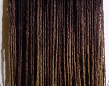 "SALE! 60DE ""Chocolate Cupcake"" Merino & Silk Dreads 26""-30"" (Total Length = 52""-60"") Dark Brown Warm Black to Golden Brown Ombre Dreadlocks"
