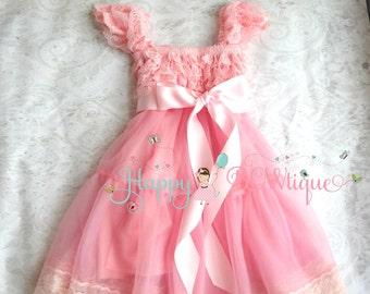 Flower girl dress, Bubblegum Pink Bow Chiffon Lace Dress,Girls dress,baby dress,1st Birthday dress,Pink Dress,Girls Princess dress,Baby Girl
