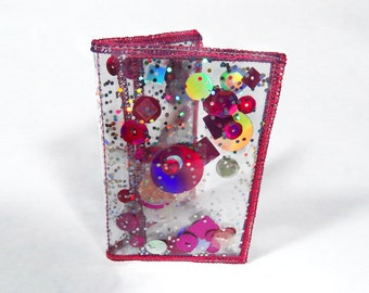 Hot Pink Wallet  Holographic Wallet Business Card Holder Credit Card Case ID Holder