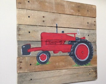 Red Tractor art, rustic art,20x20,Pallet Art,Farmall Old Red Tractor,Farm,Barn,Decor,Boys Bedroom,Nursery art,wood plank art,Any Color