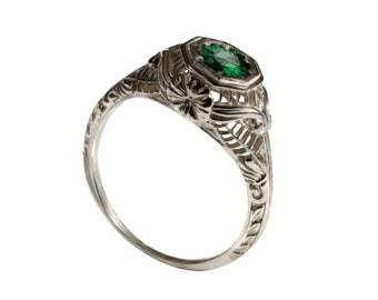 Edwardian style solitaire emerald Engagement ring 18k white gold natural emerald, filigree engagement ring, promise ring, antique 14k ring