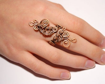 copper ring - wire ring jewelry - adjustable wire wrapped copper ring - wire wrapped jewelry handmade - copper jewelry