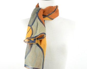 FREE SHIPPING 1960s VERA Pop Art Scarf Silk Chiffon Wrap Ascot