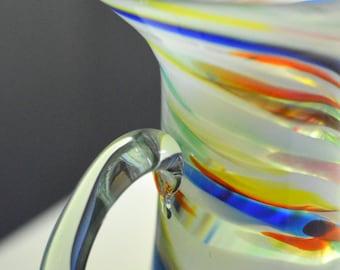 Art Glass Rainbow Swirl Pitcher Hand Blown