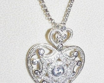Joan Rivers Heart Necklace - Rhinestone Heart Enhancer  Silver Tone  -  S1328