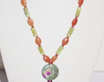 Green and Orange Gemstone Necklace 20 Inches         - S644