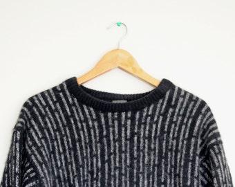 Vintage 80's Black & Grey Striped Woollen Grandpa Sweater/Jumper
