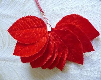 SALE Velvet Leaves Vintage Red Millinery NOS Bunch of 12 Large for Corsages Crafts Hats Scrapbooking NOS