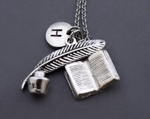 Ink and pen necklace, Ink and quill pen, Silver ink and pen, Book charm necklace, Silver open book charm, initial necklace, monogram