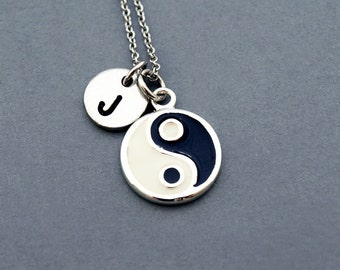 Yin and Yang necklace, initial necklace, initial hand stamped, personalized, antique silver, monogram