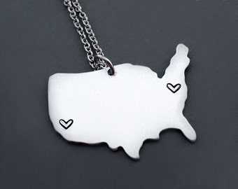 Usa Map Necklace Etsy - Us map white silhouette