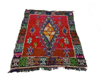 "61""X53"" Vintage Moroccan rug woven by hand from scraps of fabric / boucherouite / boucherouette"