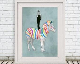 Burlesque Zebra Print, Audrey Hepburn Print, Rainbow zebra, Gift for Birthday, Blue, Zebra Wall Art, Nursery Artwork, Zebra Decor