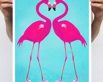 Flamingo poster : Art Print Poster A3 Illustration Giclee Print Wall art Wall Hanging Wall Decor Animal Painting Digital Art