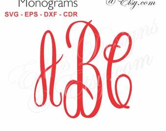 SVG Casual Script Monograms Digital Download