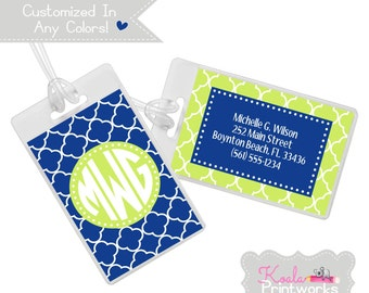 Personalized Luggage Tag - Bag Tag - You Choose the Colors & Personalization Style - Bridesmaid Gift - Monogram - Lattice