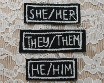PRONOUNS embroidered patch