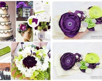 Wedding Sash Bridal Jeweled Flower Sash Custom Belt in Ivory, Plum Purple, Lime Green with Brooches, Handmade Flowers Barn Wedding