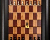 """2.5"""" Black and Silver Aluminum Chess Pieces on Vertical Straight Up Chess Board with Wide Scoop frame"""