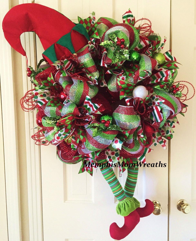 Deco Mesh Christmas Tree Wreath: Christmas Elf Deco Mesh Wreath Deco Mesh By MemphisMomWreaths