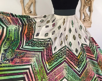 1950s Hand Painted and Sequined Mexican Circle Skirt by Artegreen -- Vibrant Colors and Glittering Sequins, Deadstock