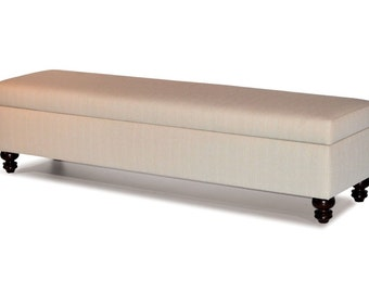 Natural color Fabric Upholstered Storage Bench, Ottoman - Bed Chest