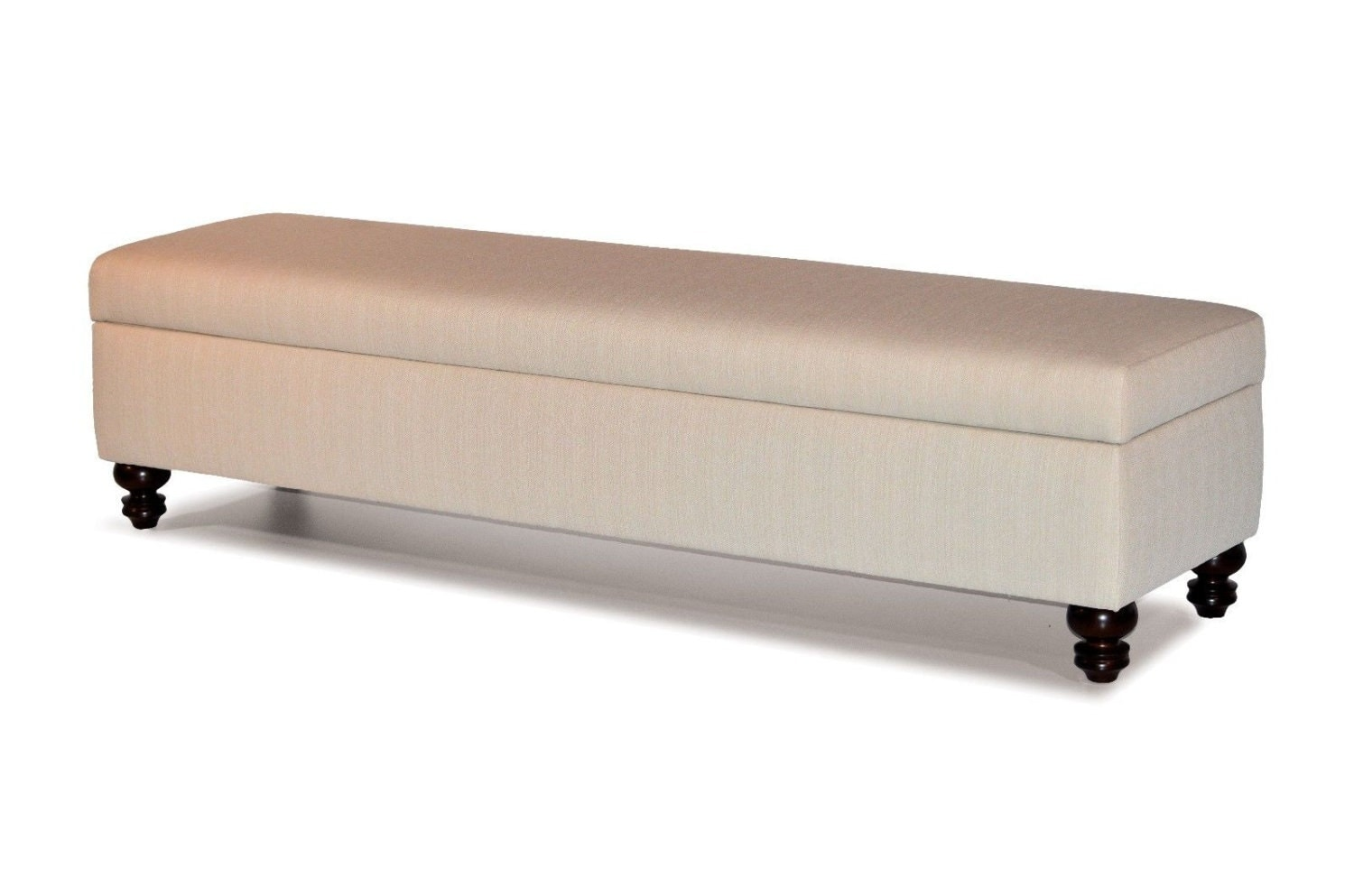 Natural Color Fabric Upholstered Storage Bench Ottoman Bed