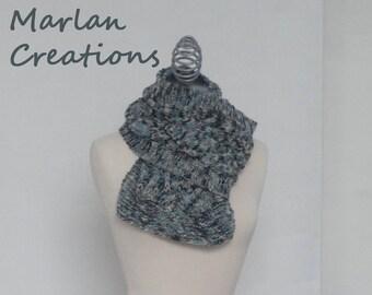 Grey, light blue, rusty brown and kaki scarf with diamond pattern