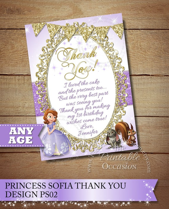 Sofia the first thank you card to match invitation princess thank il570xn stopboris Gallery
