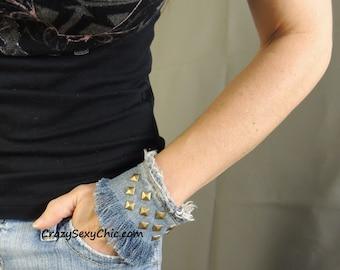 Cuff Bracelet Handmade Studded Denim OOAK