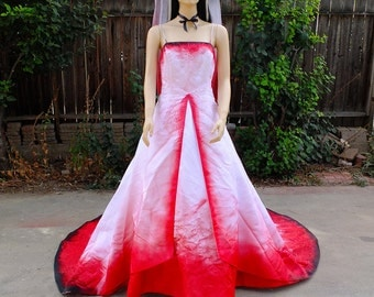 Blood stained splattered bride by graveyardshift13 on etsy for Halloween wedding dresses plus size