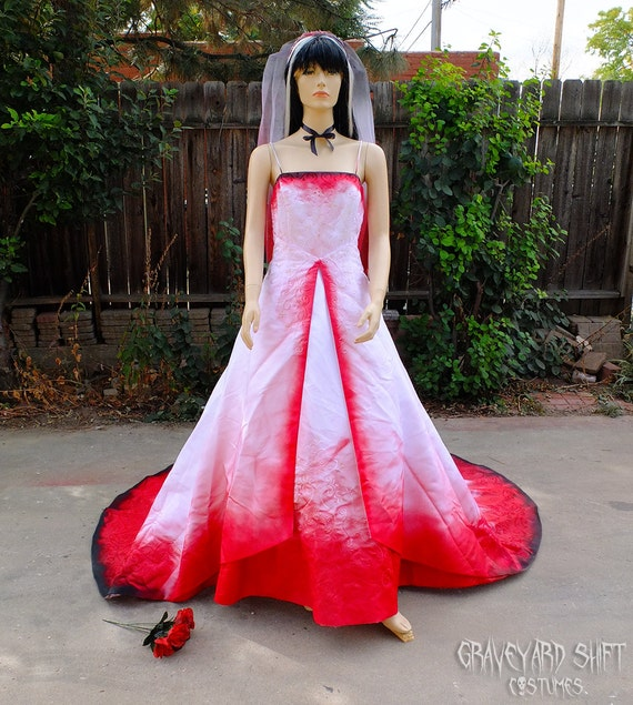 Plus size vampire costume blood drenched vampire wedding for Halloween wedding dresses plus size