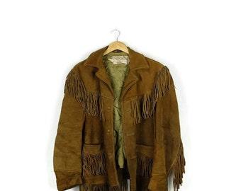 Damaged Vintage Schott Camel Brown Suede Fringed Jacket from 1970's/Southwestern/Rancher *