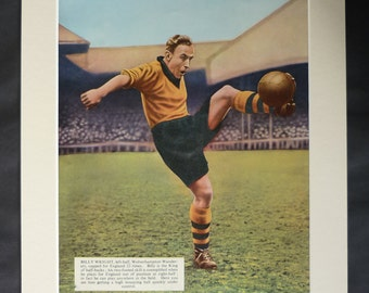 1940s Antique Football Print of Billy Wright, Available Framed, Soccer Art, Old Sport Gift, Sporty Decor, Wolverhampton Wanders Athletic Art