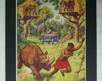 1950s Vintage Boys' Print, Available Framed, Rhino Art, Rhinoceros Decor, African Safari Gift, Old Africa Picture, Native Village Wall Art