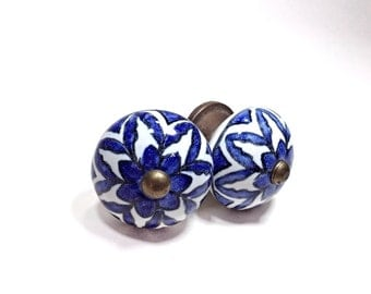 Large Antique Blue and White China Style Ceramic Knobs, Antique Drawer Pulls, Cabinet Knobs, Distressed Knob, Historical Hardware