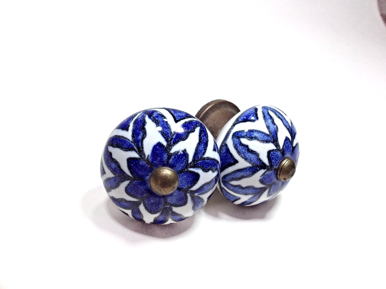 Antique Blue Glass Knob, Antique Drawer Pull, Vintage Style Drawer ...