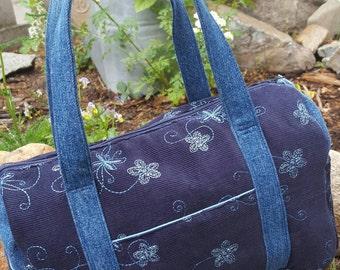 Navy Corduroy Purse, Embroidered  Purse, Blue Zippered Purse, Corduroy Handbag