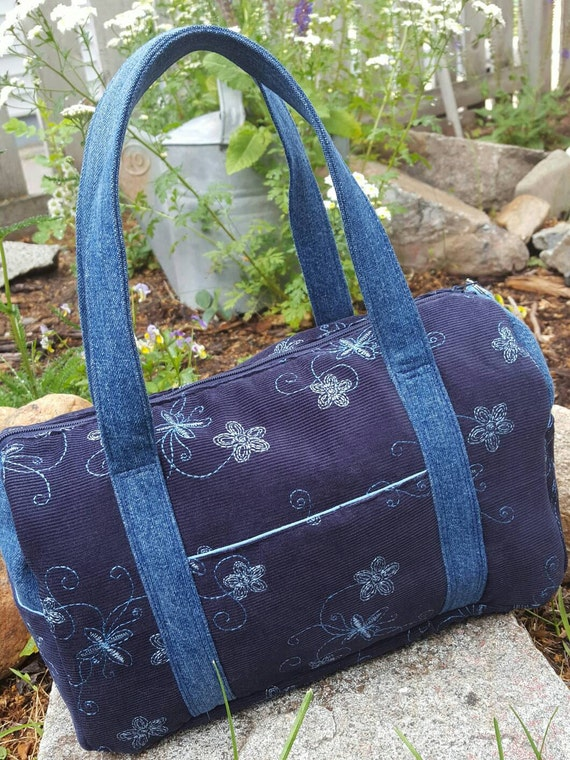 Navy Corduroy Purse, Embroidered  Purse