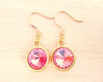 Rose Rivoli Earrings - Swarovski Crystal Earrings - Gold Dangle Earrings - Rivoli Jewelry - October Birthstone